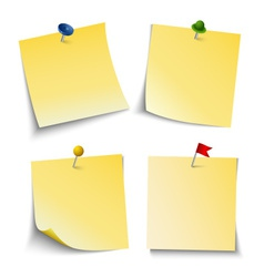 Note paper with push colored pins template vector