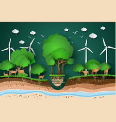 Paper cut of eco with animal vector