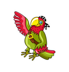 pirate parrot in bandana icon vector image vector image
