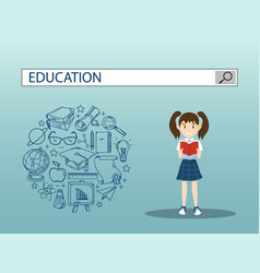 Reading girl with education search engine bar vector