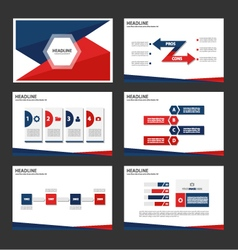 Red Blue presentation templates set vector image vector image