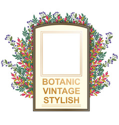 retro doodle floral frame vector image vector image