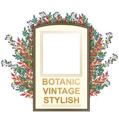 Retro doodle floral frame vector