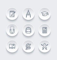 school line icons set education college vector image vector image