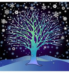 tree in the snow vector image vector image
