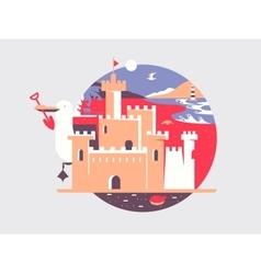Sand castle flat vector image