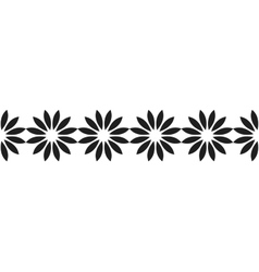 Border of black silhouetted flowers for decoration vector