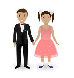 cute kids in elegant festive clothing vector image