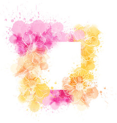 Watercolor template with flowers vector