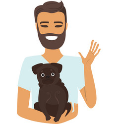 Young man holding a dog vector
