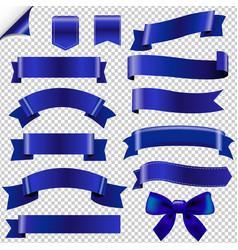 Big blue ribbons set vector