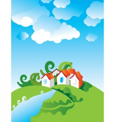 Cartoon village landscape vector