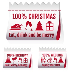 Fabric tags textile labels for cards set vector
