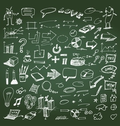 Doodles on chalkboard set vector