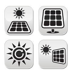 Solar panels solar energy white buttons set vector image