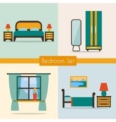 Bedroom set with furniture vector