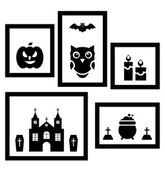 Frames with halloween traditional symbols vector