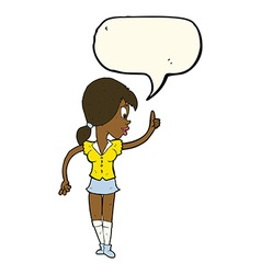 Cartoon girl with idea with speech bubble vector
