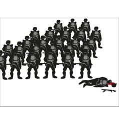 Silhouettes of soldiers vector