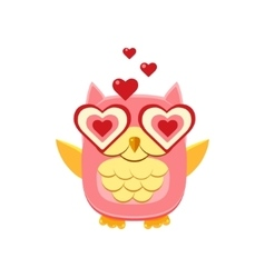 Pink owl in love vector