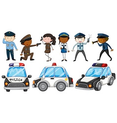 Police officers and police cars vector