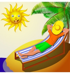 A man resting on a deckchair on a sunny day vector image vector image