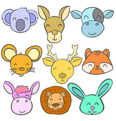 Animal head colorful of doodles vector