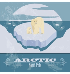 Arctic north pole retro styled image vector