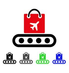 Baggage conveyor flat icon vector