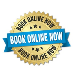Book online now 3d gold badge with blue ribbon vector