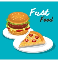 burger and pizza isolated icon design vector image