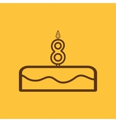 Cake with candles in the form of number 8 icon vector image