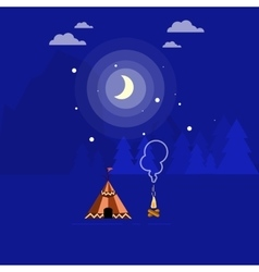 campfire and tent vector image