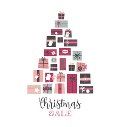 christmas sale pile of presents arranged as an vector image
