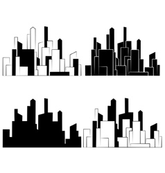 City buildings silhouettes icon vector
