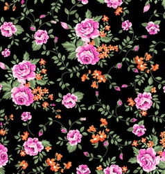 classic roses on black ground vector image vector image