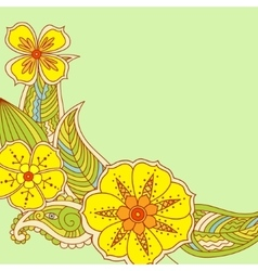 Colorful flowers in Mehendi style on green vector image vector image