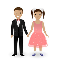 Cute kids in elegant festive clothing vector