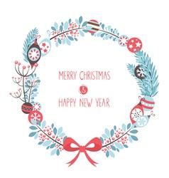 Decorative christmas wreath celebration postcard vector