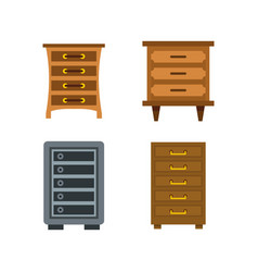 drawers icon set flat style vector image