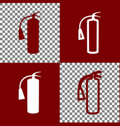 Fire extinguisher sign bordo and white vector