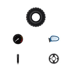 Flat parts set of belt tachometr auto component vector
