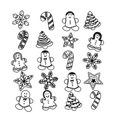Gingerbread christmas set cookies vector
