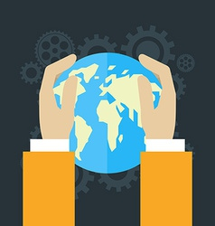 Global economics concept human hands holding globe vector