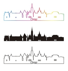Graz skyline linear style with rainbow vector