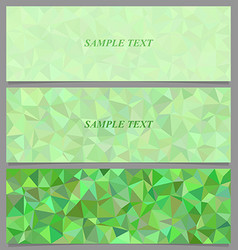 Green tiled triangle mosaic banner design set vector