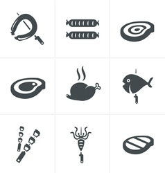 Grill and barbecue related icons set vector