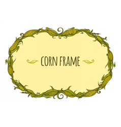 Hand drawn oval corn frame vector