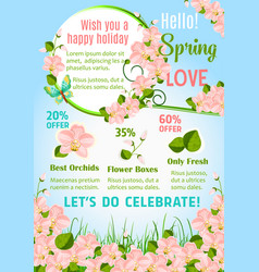 Hello spring floral poster with orchid flowers vector