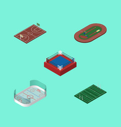 Isometric sport set of b-ball ice games american vector